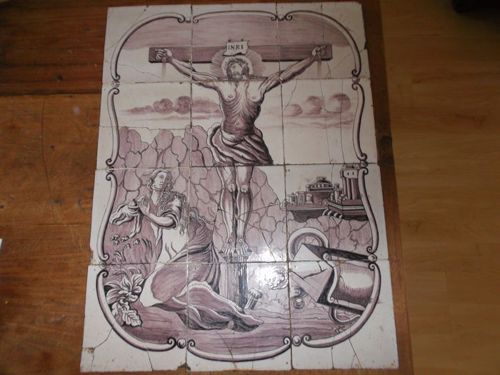 19 century Delft tile tableau Calvary Christ on the cross