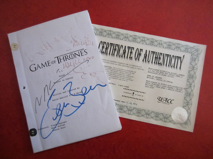 "Game Of Thrones - Original production script for the ""Pilot"" episode, Winter Is Coming (2011) with signatures"