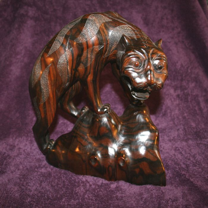 Wood Carved Statuette Of A Tiger Signed W Puspe Bali