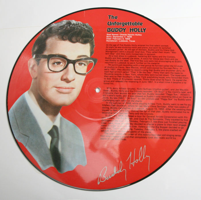 nice lot with a picture disc of buddy holly catawiki. Black Bedroom Furniture Sets. Home Design Ideas
