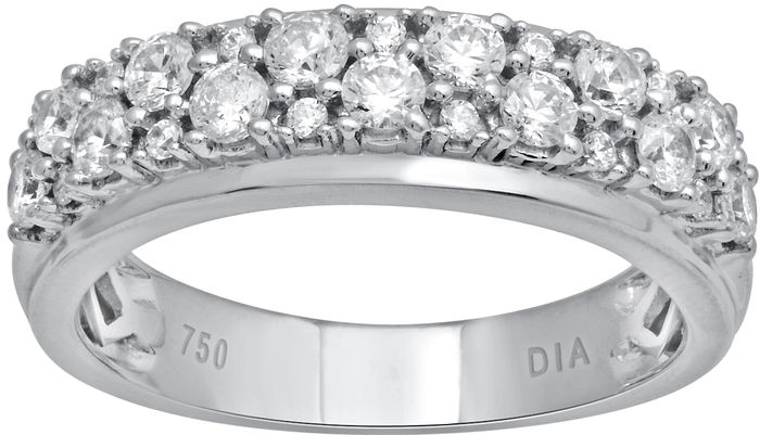 White gold ring with round brilliant diamonds, 1.00ct total