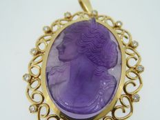 Amethyst cameo pendant set with a diamond
