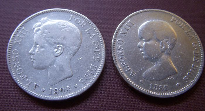 Spain - 5 Pesetas 1889-1898 (2 different coins) - silver