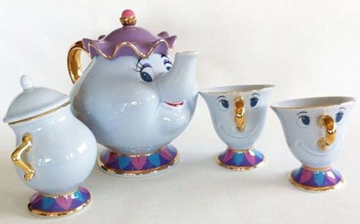 Disney Beauty And The Beast Disneyland Tokyo Tea Set With