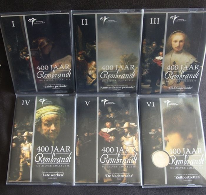The Netherlands - year packs 2006 '400 jaar Rembrandt' (400 Years Rembrandt), silver, part I up to and including VI