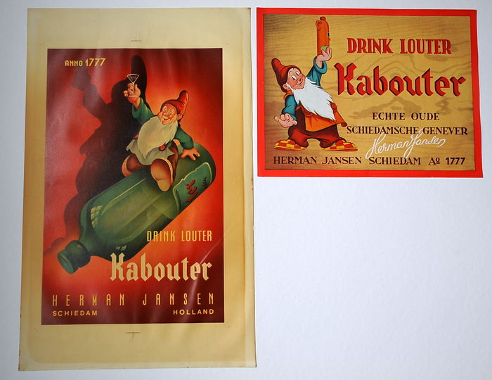 2x lithograph - Drink Louter Kabouter - 1st edition - (1935/1950)