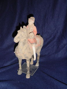 Chinese Han Dynasty Horse and rider with TL report   -  32cm x 32cm x 14.5cm