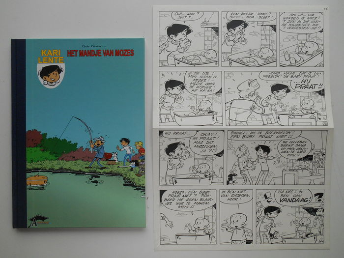 Mau, Bob - Original page (p.16) + album - Kari Lente 8 - Het mandje van Mozes - hc with cloth spine - 1st edition - (2007)