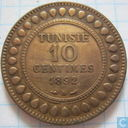 Tunisia 10 centimes 1892 (year 1309)