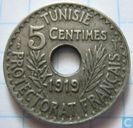 Tunisia 5 centimes 1919 (year 1337)