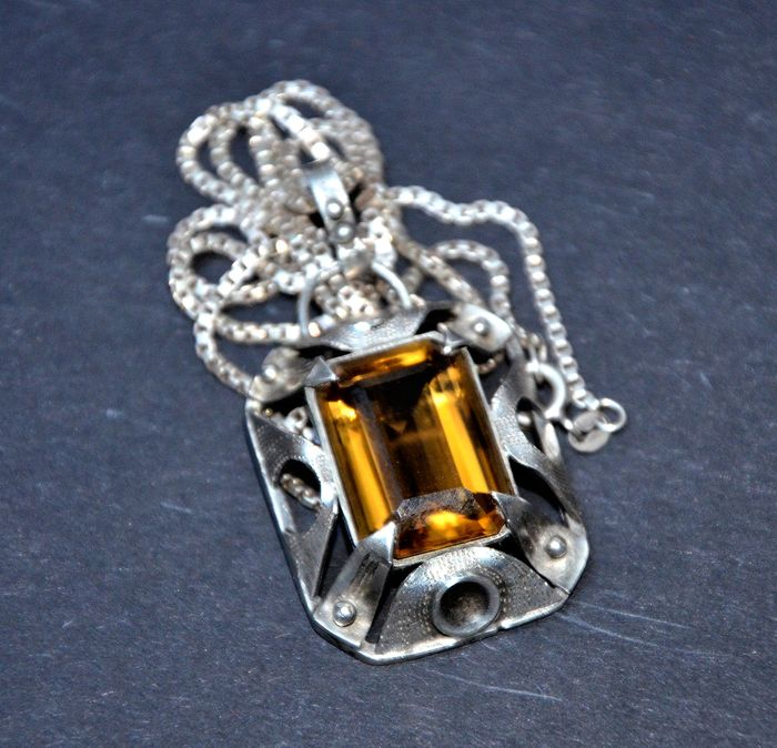 Antique silver necklace with large citrine pendant around 1900 antique silver necklace with large citrine pendant around 1900 aloadofball Choice Image
