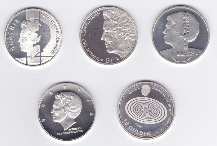 The Netherlands – 10 guilder coins, 1994/1999, Beatrix (5 different coins) complete – Silver