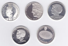 The Netherlands – 10 guilder 1994/1999 (5 different types) Beatrix complete