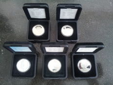 The Netherlands – 10 guilder coins, 1994/1999, Beatrix (5 different coins) complete