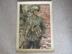 Propaganda poster Sergeant after the street fighting of the OKH WW II