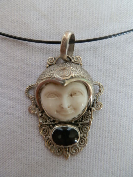 Moon Face Pendant In 925 Silver Set With Black Onyx Stone Catawiki