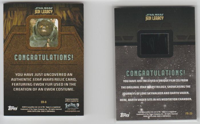 Star Wars - Jedi Legacy prop card Ewok fur + Authentic Film Cell
