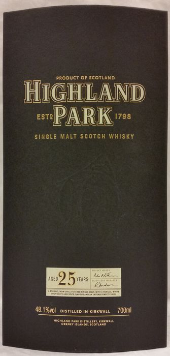 HIGHLAND PARK 25 years old (older edition).