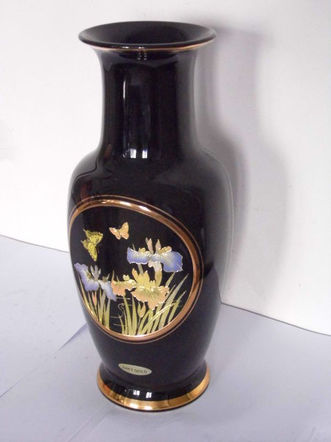 Chokin Gilded Vase Of Iris And Butterflies Japan Late 20th