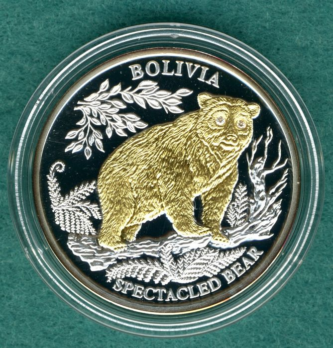 "Liberia - 10 Dollars 2006 ""Bear"" - silver, partially gold-plated, diamonds for eyes"