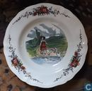 "Assiette en faience ""Obernai Faiencerie Sarreguemines France""."