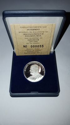 Fine silver medal/coin of John Paul II - with certificate of authenticity - 1985 - NL - limited edition