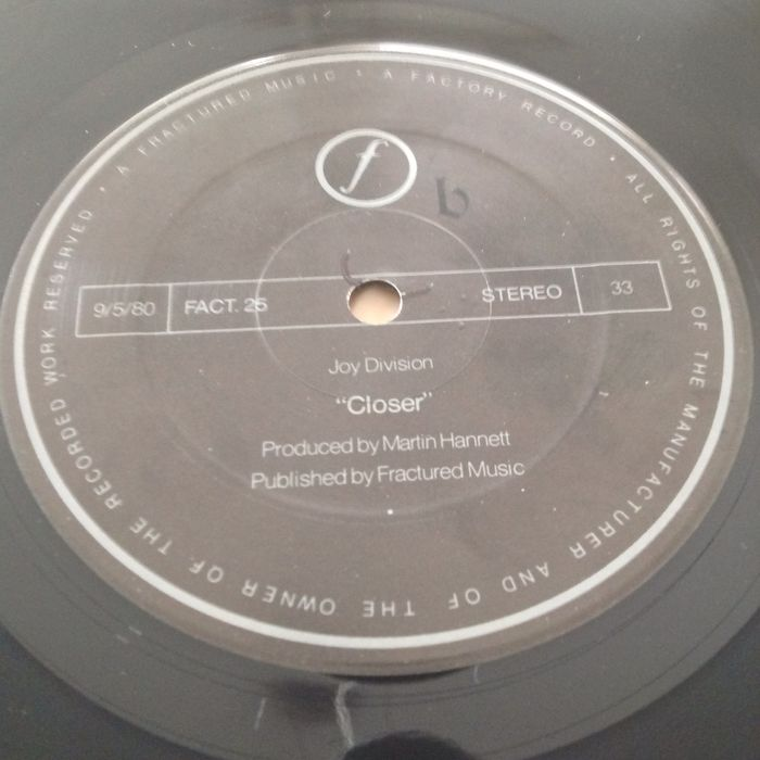 Joy Division Closer Vinyl Album Uk 1980 1st Issue 1st