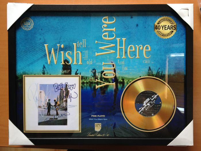 "Pink Floyd Gold CD Display  ""Wish You Were Here""  -  Including  4 Signatures"