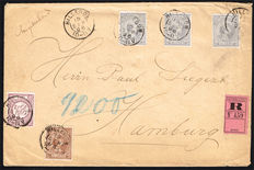 The Netherlands 1896 – Letter sent from Hillegom to Hamburg with NVPH 33b, 36 and 38 (3x). With inspection certificate.