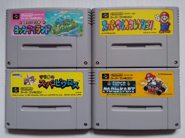 Lot of 4 Mario games for the Super Nintendo (Japanese imports)