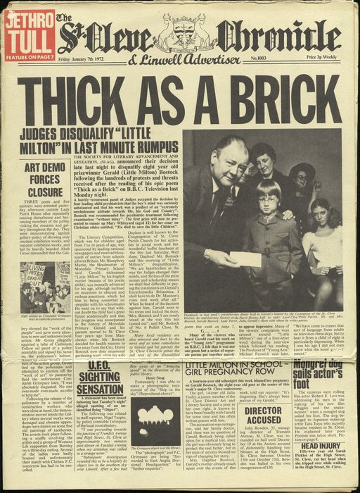 Jethro Tull Thick As A Brick Lp In Newspaper Sleeve