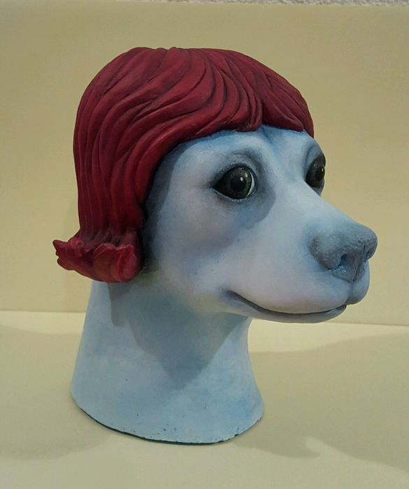Dog with a wig art sculpture by MP.