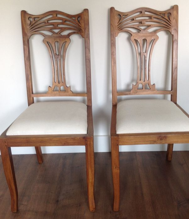 Art Deco Kuipstoelen.Two Chairs With Woodcarving In Art Nouveau Style Catawiki