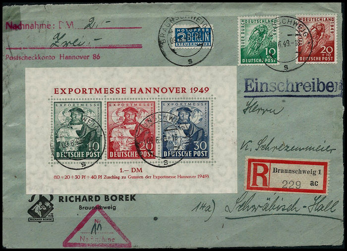 Bizone 1949 hannover messe souvenir sheet 1 on front for Hannover souvenirs