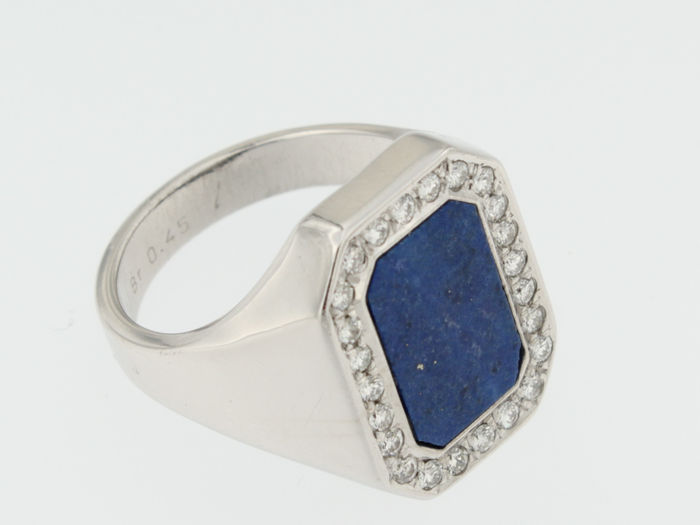 296ccd1052d8b White gold men's ring set with a brilliant cut diamond and lapis lazuli -  Catawiki
