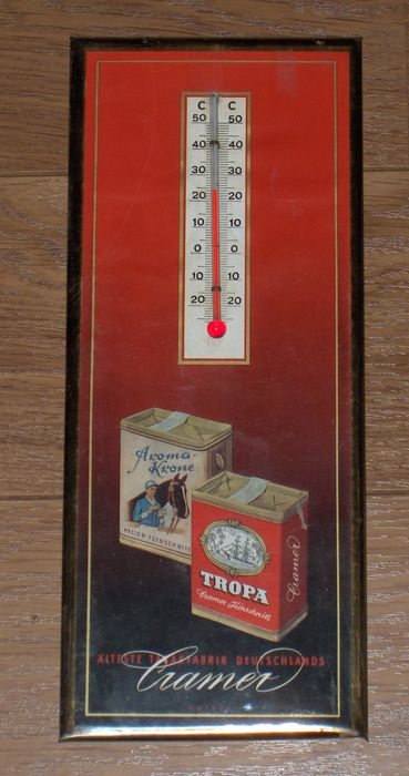 Tobacco: Advertising thermometer Cramer Aroma Krone and Tropa (German) / 1950s