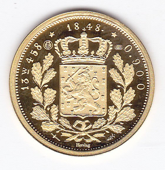 The Netherlands - 20 Gulden 1848 Willem II (Herslag) - Gold