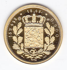 Netherlands - itinerant penning (or 20 guilders) 1848 Willem II re-mint in gold
