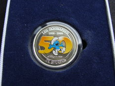 "Belgium - 5 Euros 2008 ""Smurfs"", silver coloured in coffer"