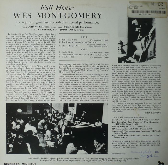 Us Jazz Guitar On Riverside Wes Montgomery Lot Of 5 Albums