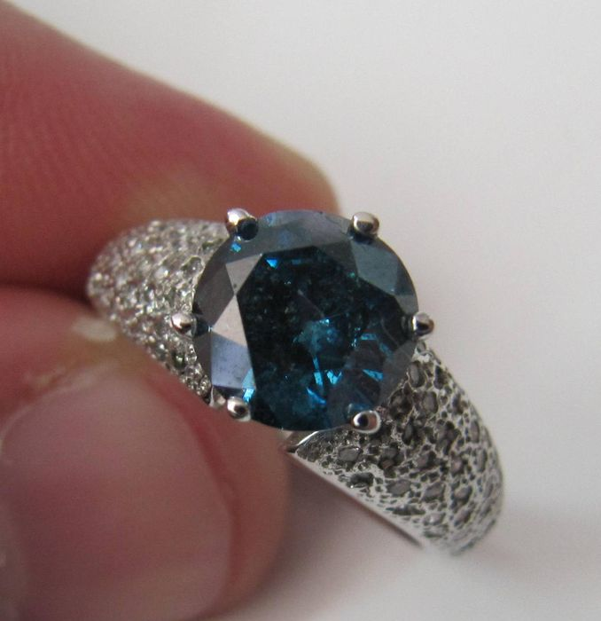 Bleu Sertie De D'un 2 Diamants Or En 04ct 14k Bague Vif Diamant SUMVzGLpq