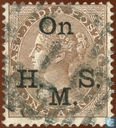 Queen Victoria with small overprint On H.M.S..