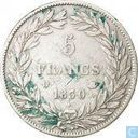 France 5 francs 1830 (Louis Philippe I - Incuse text - D)