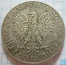 Pologne 10 zlotych 1932 (avec marque d'atelier)
