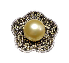 South Sea Pearl, Diamonds and Sapphires Ring