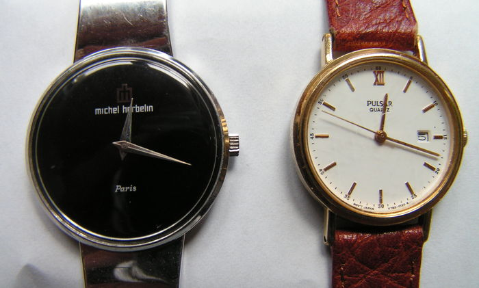 Lot of 2 ladies wrist watches (Pulsar quartz plus Michel Herbelin hand winder) - years 80.