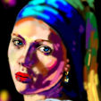 Modern Art Auction (Homage to Vermeer - Girl with a Pearl Earring)