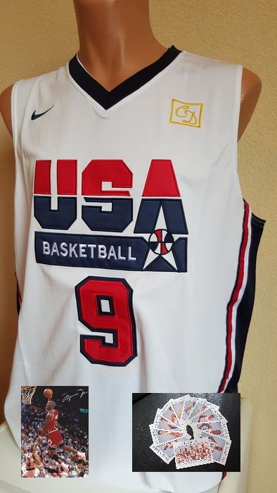 USA Dream Team 1992 met Shirt Michael Jordan no. 9 + foto met gedrukte handtekening + 11 authentieke spelerskaartjes 1992.