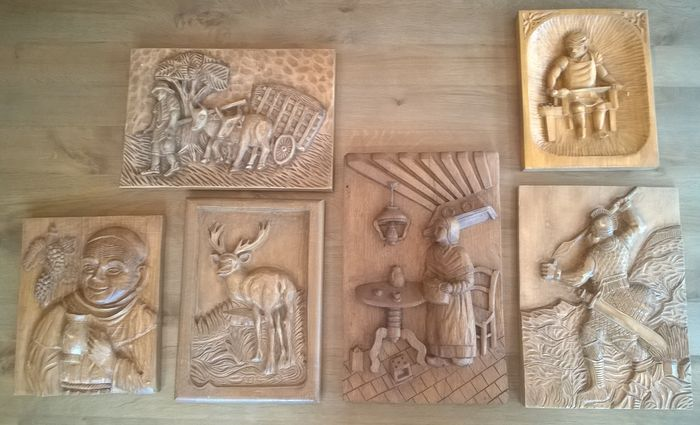 Large lot of relief carvings solid wood wall panels catawiki
