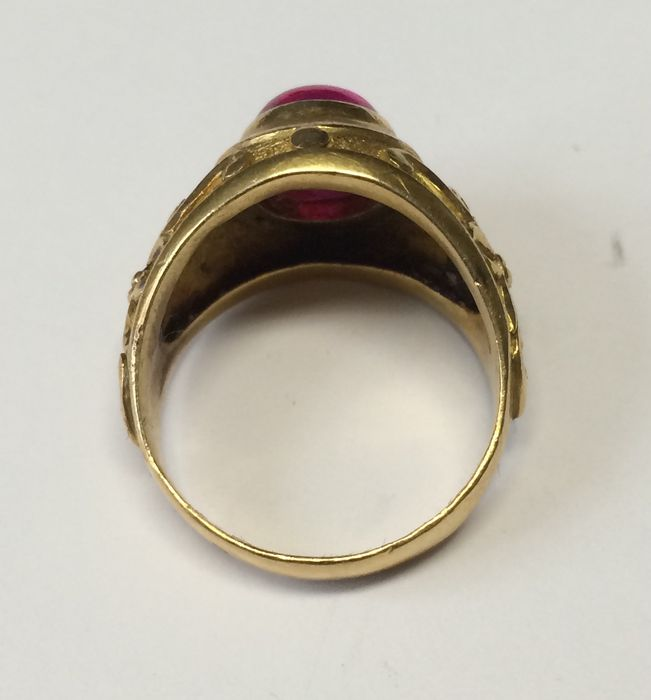 Indonesian ring high gold grade 21 karat with ruby Catawiki